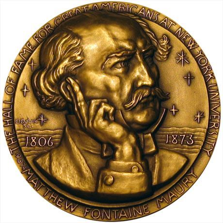 NYU Hall of Fame Medal Matthew Maury Bronze 76mm by Donald DeLue