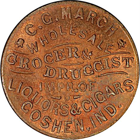 Goshen Indiana Civil War Token PCGS MS65 RB R6 IN350G-1a