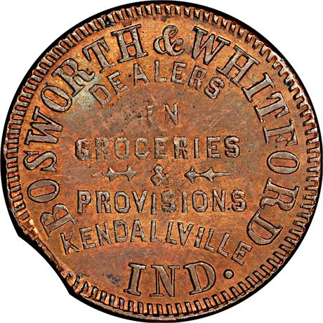 Kendallville Indiana Civil War Token PCGS MS63 RB R8 IN500A-1a