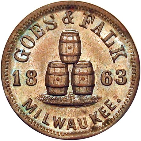 Milwaukee Wisconsin Civil War Token NGC MS64 BN WI510M-1a Beer Barrels