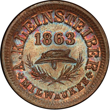 WI510U-1a Milaukee Wisconsin Civil War Token PCGS MS64 RB