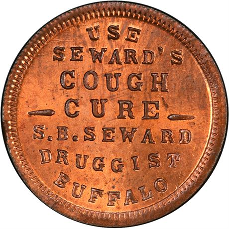 NY105P-2a Buffalo New York Cough Cure Druggist Civil War Token PCGS MS66 RB R7