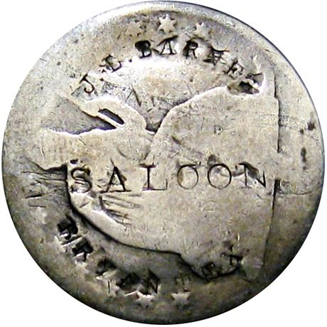 416  -  J. L. BARNES / SALOON / BRYAN TEX on obverse of Half Dollar Raw FINE