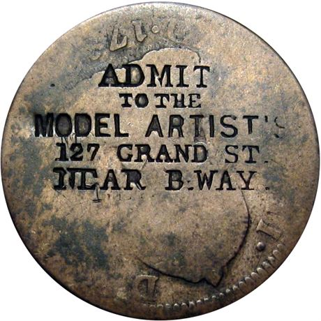 442  -  ADMIT/TO THE/MODEL ARTIST'S/127 GRAND ST... on Two Real Raw VF Details