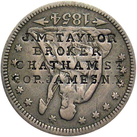 472  -  J. M. TAYLOR/BROKER/CHATHAM St/COR. JAMES. N.Y. on 1854 Quarter Raw EF