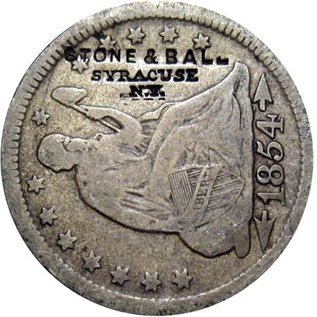 469  -  STONE & BALL / SYRACUSE / N.Y. on obverse of 1854 Quarter Raw VF