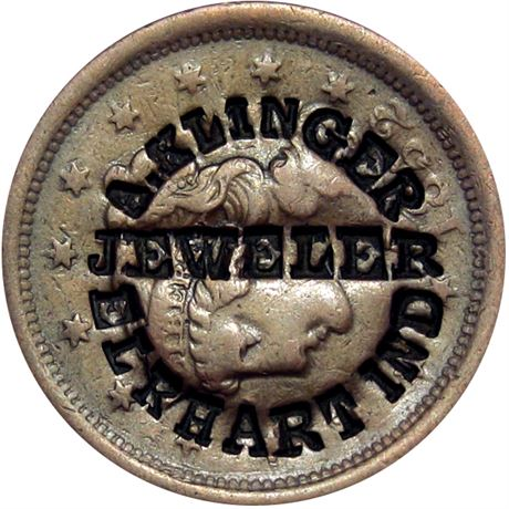 439  -  A. KLINGER / JEWELER / ELKHART IND on 1852 Large Cent Raw EF