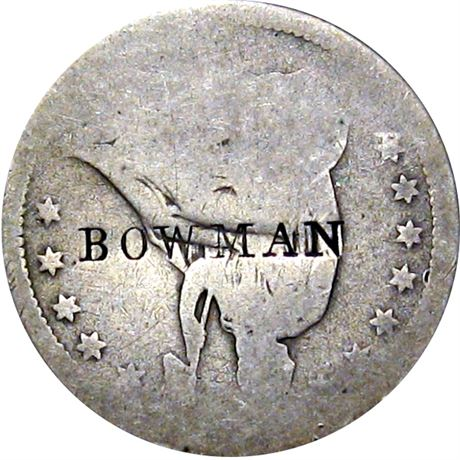 414  -  BOWMAN on obverse of Seated Quarter Raw VF