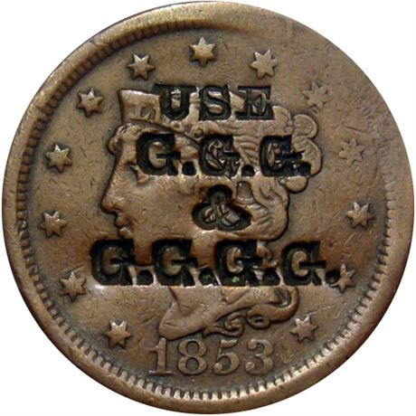 426  -  USE / G.G.G. / & / G.G.G.G on the obverse of an 1853 Cent Raw EF