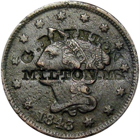 415  -  G. BAYNTON / MILTON, MS. on obverse of 1843 Large Cent Raw VF Details