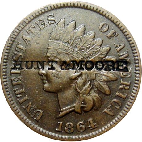 435  -  HUNT & MOORE on obverse of 1864-L Cent Raw EF