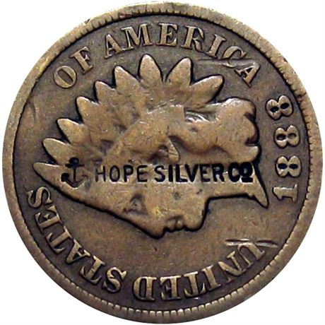 430  -  (Anchor) HOPE SILVER Co on the obverse of 1888 Cent Raw VF