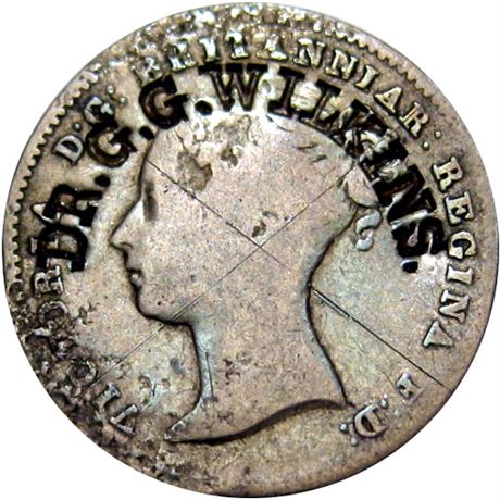 477  -  DR. G. G. WILKINS. curved on 1838 English Three Pence Raw EF