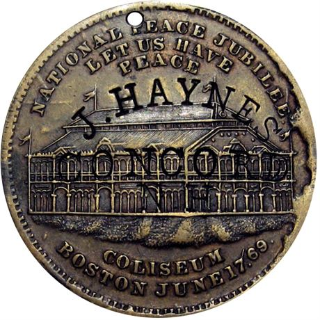 436  -  J. HAYNES / CONCORD / N. H. on obverse of 1869 Boston token Raw VF