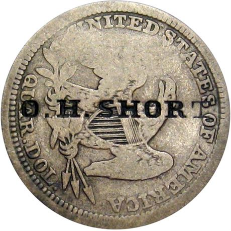 466  -  O. H. SHORT on the reverse of an 1854 Seated Quarter Raw VF