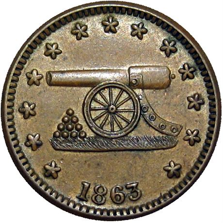 76  -  168/311 a R1 Raw AU  Patriotic Civil War token