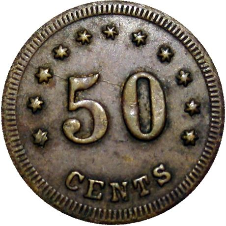 91  -  454B/464D a R10 Raw EF Very Rare Dies Patriotic Civil War token