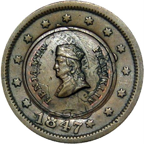 68  -  153/0 ao R7 Raw MS62 Franklin over Cent Patriotic Civil War token