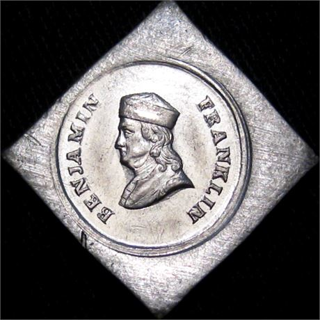 70  -  153/519B e R9 Raw MS63 Franklin Die Trial Patriotic Civil War token