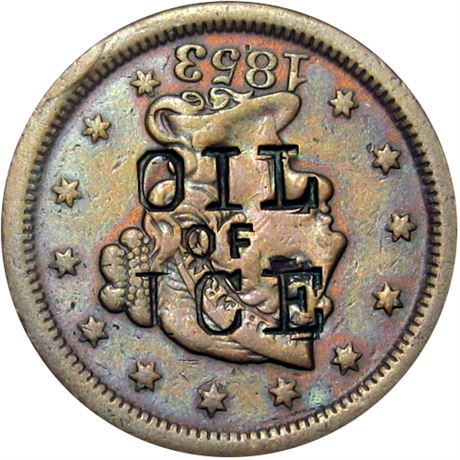 449  -  OIL / OF / ICE on the obverse of an 1853 Cent Raw VF