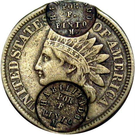 450  -  HABILITADO / POR / F. / PINTO / M twice on obverse of 1861 Cent Raw EF
