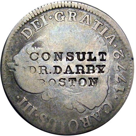 421  -  CONSULT / DR. DARBY / BOSTON on obverse of a 1772 Two Real Raw VF
