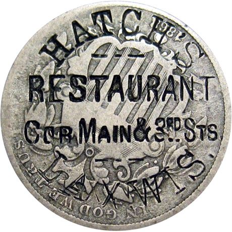433  -  HATCH'S/RESTAURANT/Cor Main & 3rd Sts./LAX, WIS. on 1868 Nickel Raw VF
