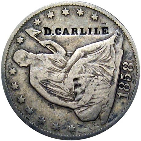 419  -  D. CARLILE on obverse of 1858-O Half Dollar Raw VF