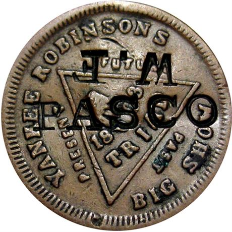 454  -  W. F. / PASCO on 1863 Yankee Robinson Civil War token Raw VF