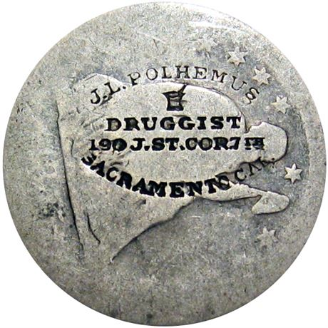 451  -  J. L. POLHEMUS/DRUGGISTS...SACRAMENTO CAL. on 1855 Quarter Raw VF