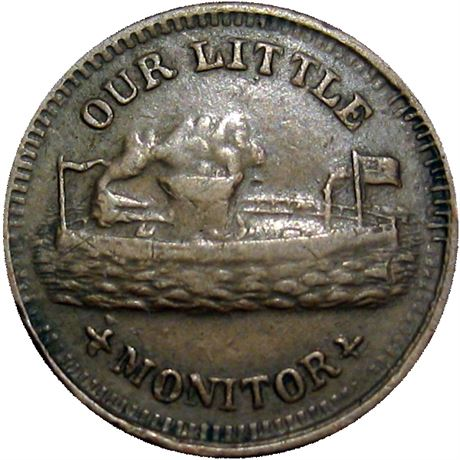 82  -  238/405 a R3 Raw VF+ Our Little Monitor Patriotic Civil War token