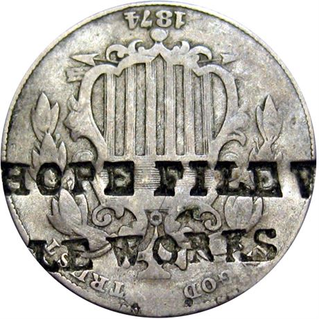 434  -  HOPE FILE WORKS on obverse of 1871 Nickel Raw VF