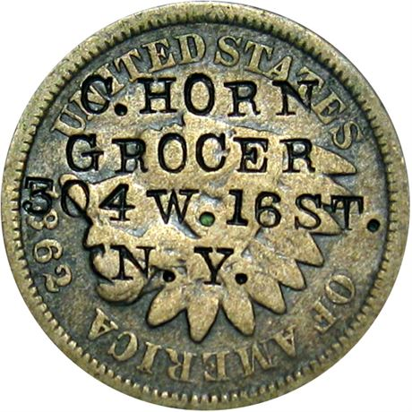 431  -  C. HORN / GROCER / 304 W. 16 ST. / N.Y. on 1862 Cent Raw VF