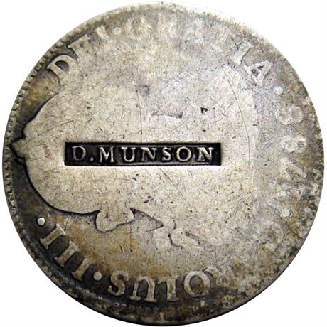 443  -  D. MUNSON on obverse of an 1788 Two Real Raw EF