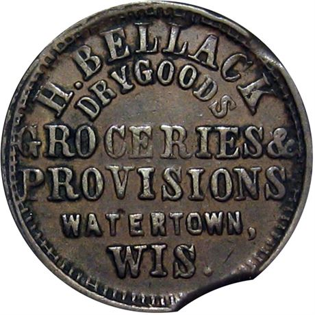 406  -  WI920A-1a R5 Raw EF Watertown Wisconsin Civil War token