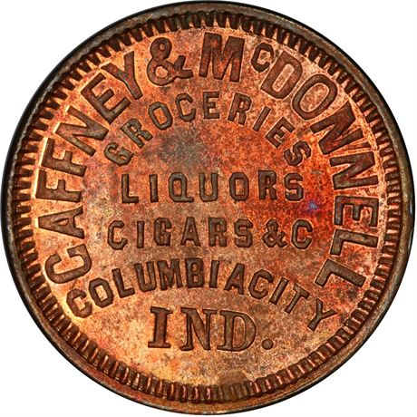 IN175A-1a Columbia City Indiana Civil War Token PCGS MS64 RB R6
