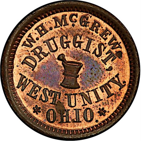 OH930B-2a R6 West Unity Ohio Druggist Civil War Token PCGS MS65 RB