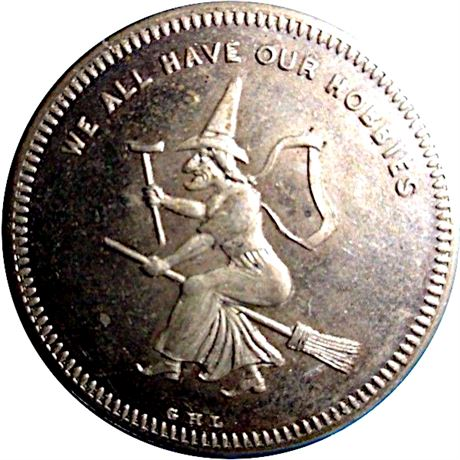Witch on Broomstick New York City 1860 Merchant Token NGC MS64 PL Proof Like