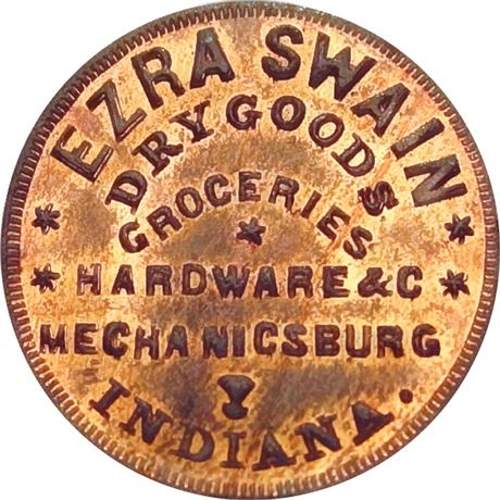 IN600B-1a Mechanicsburg Indiana Ezra Swain Civil War Token NGC MS65 RB Tanenbaum