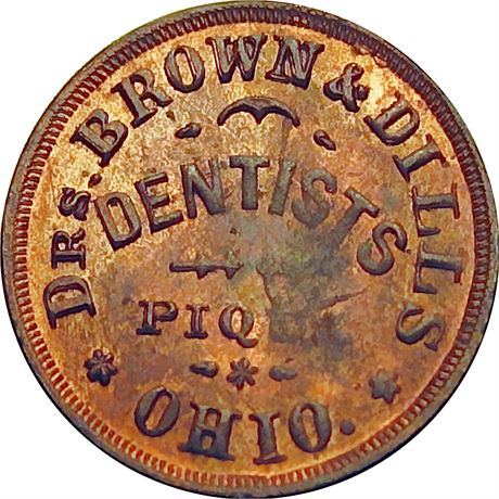 OH730a-6a Piqua Ohio Dentist Doctors Brown & Dills Civil War Token NGC MS64 RB