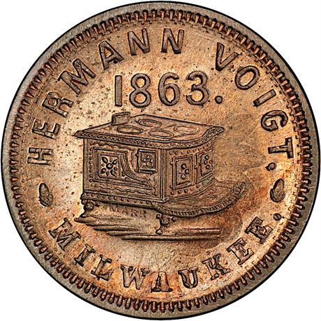 WI510AQ-1do Milwaukee Wisconsin UNIQUE over Cent Civil War Token PCGS MS65 R10