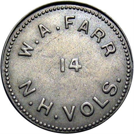 NH-14-25N 14th New Hampshire Volunteers Civil War Sutler Token AU58