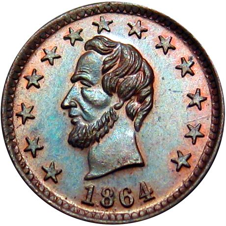 127/252 a Abraham Lincoln Masonic Patriotic Civil War Token NGC MS65 R9
