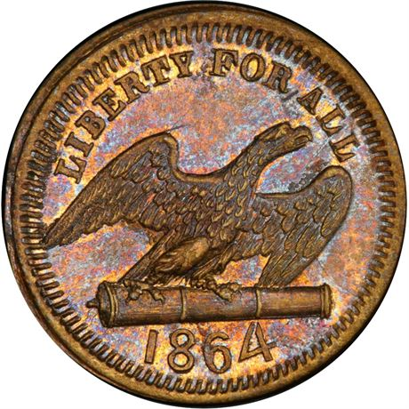 160/417 b Eagle on Cannon Patriotic Civil War token PCGS MS64 R9