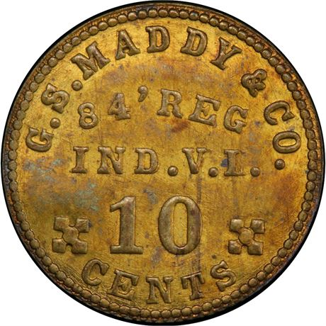 IN-84b-10B 84th Indiana Volunteer Infantry Civil War Sutler Token PCGS MS63 R9