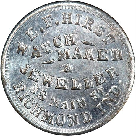 IN800C-3i Richmond Indiana Tin Plate Civil War Token PCGS MS66 R8