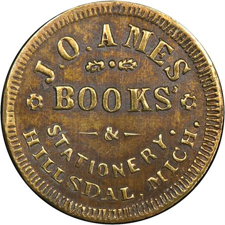 MI450A-1b Hillsdale Michigan Ames Books Civil War Token PCGS MS62 R8