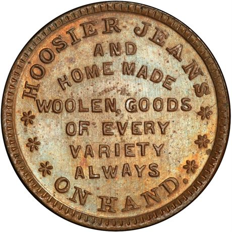 IN460D-2a Indianapolis Indiana Hoosier Jeans Civil War Token PCGS MS65 R6