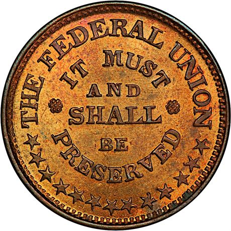 219/323 a Union Must Be Preserved Patriotic Cent Civil War Token PCGS MS64 RB R2