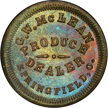 OH830E-1b Springfield Ohio Brass Civil War Token PCGS MS64 Rare Merchant